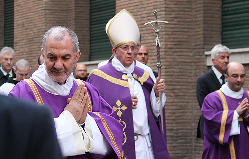 Pope Francis leads the Ash Wednesday procession on Rome's Aventine Hill, March 5, 2014. Credit: Isabel Anderson
